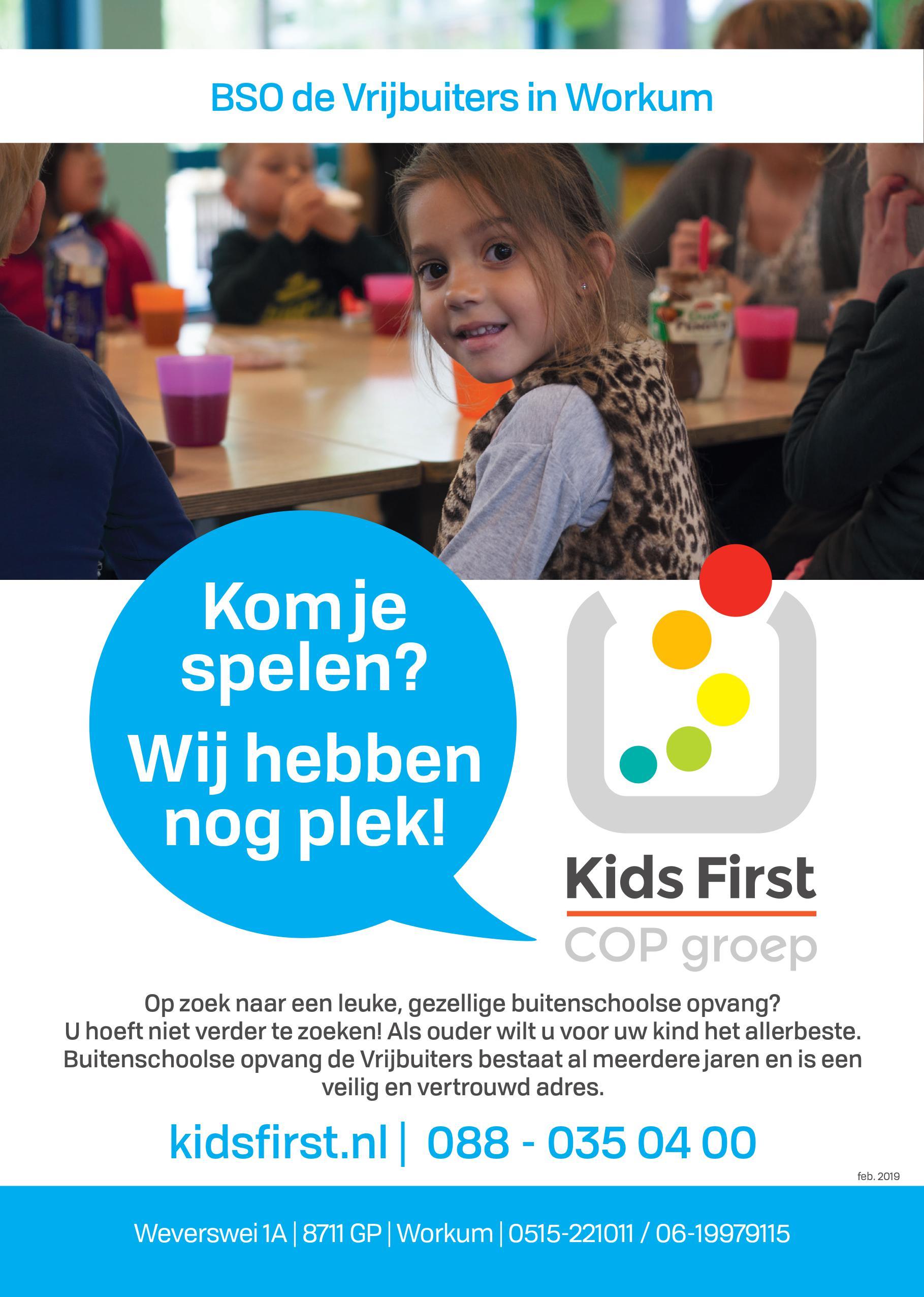 BSO De Vrijbuiters in Workum - Kids First COP groep