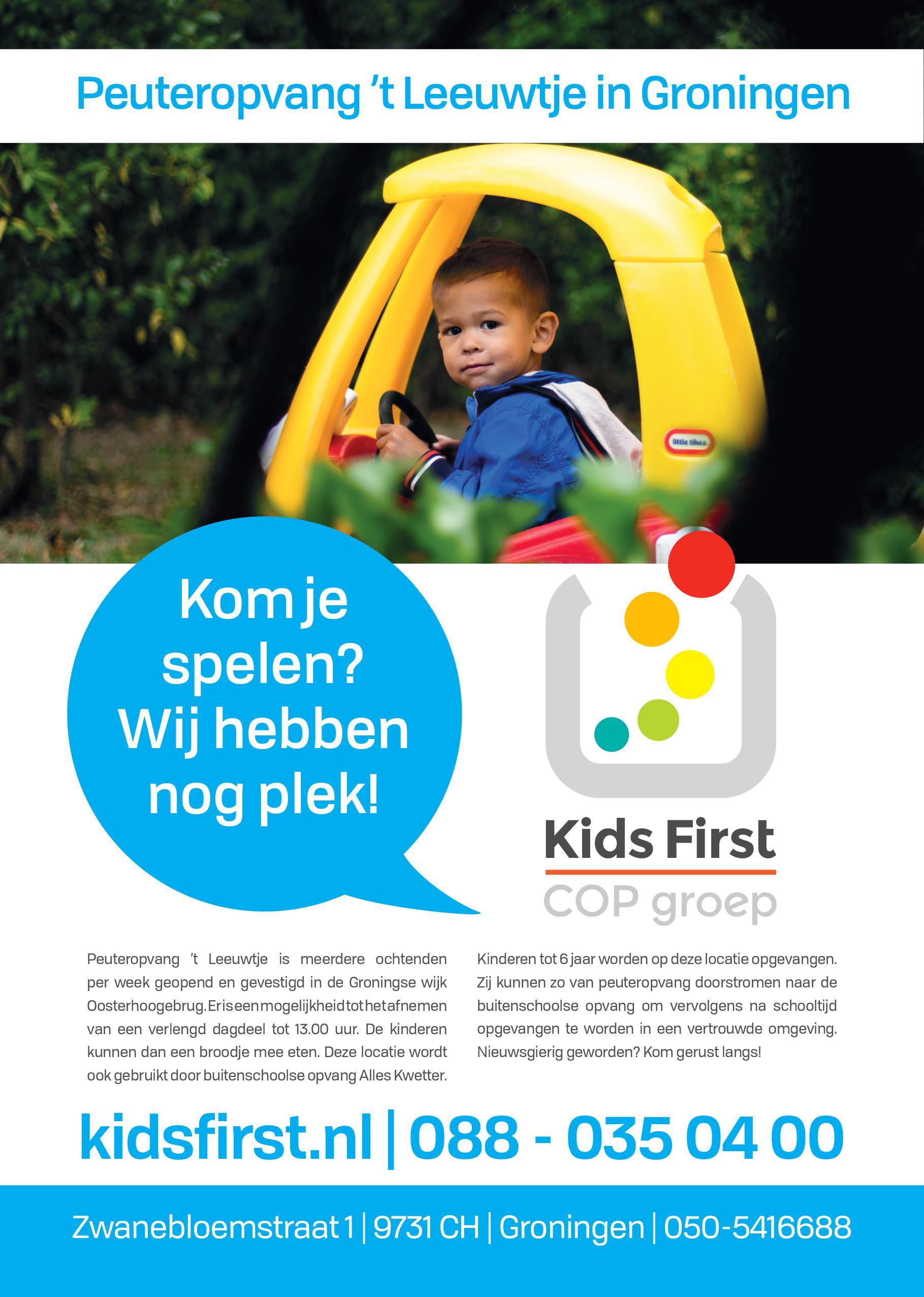 Flyer 't Leeuwtje Groningen- Kids First COP groep