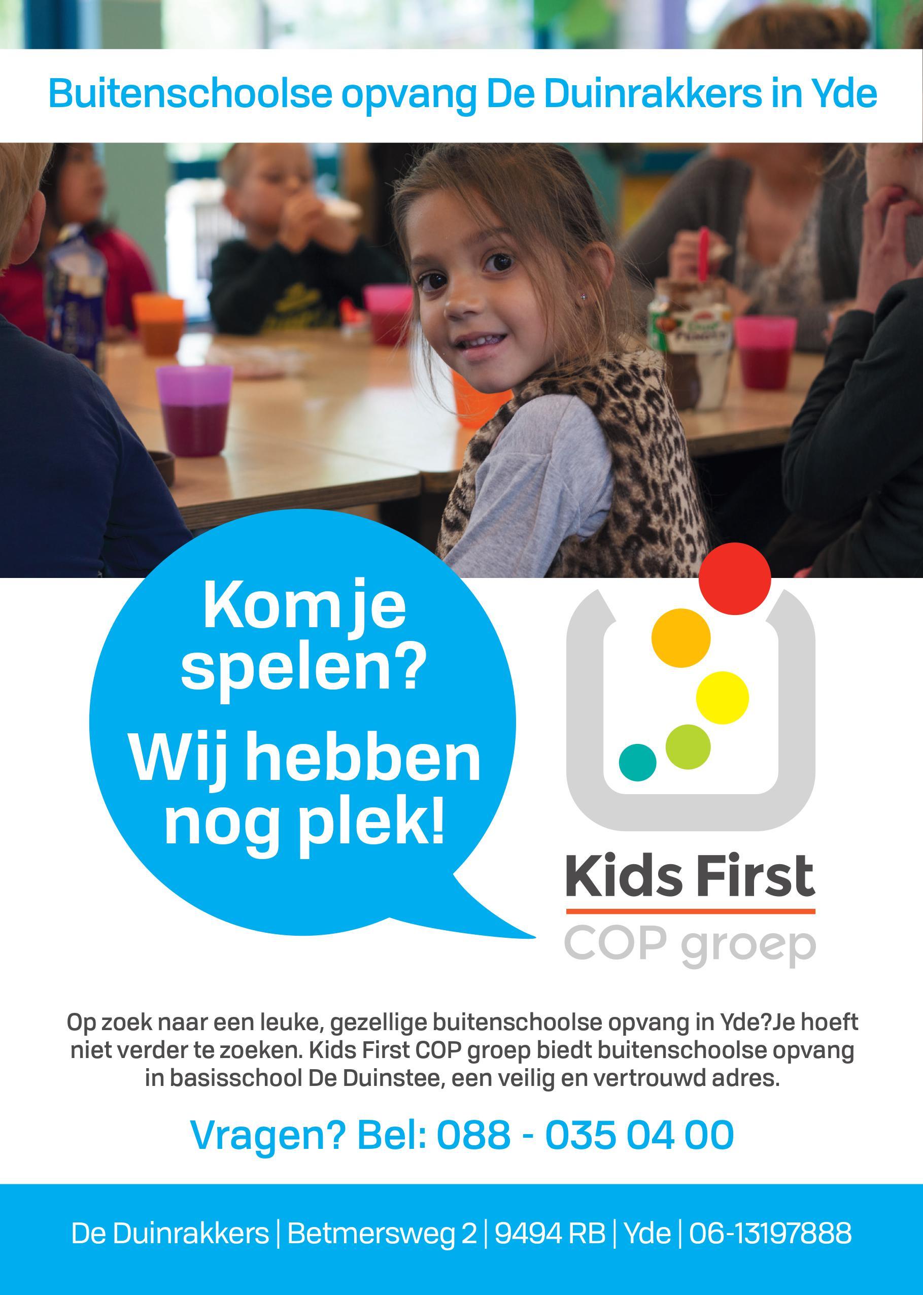 Buitenschoolse opvang De Duinrakkers Yde - Kids First COP groep