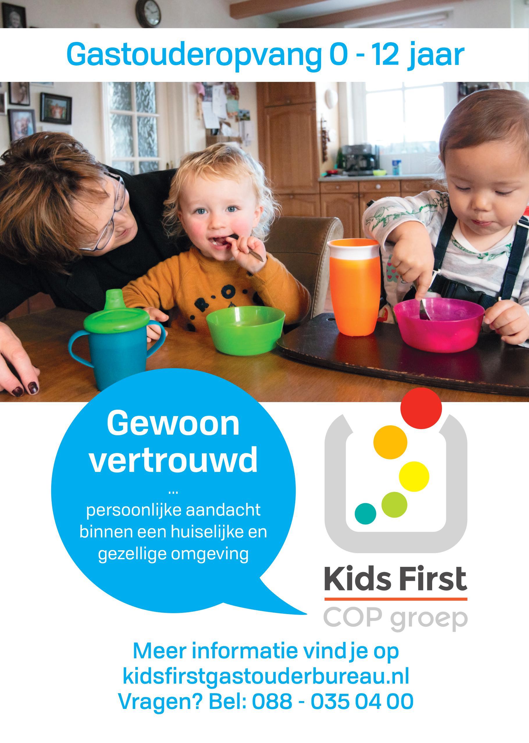 Gastouderopvang 0 - 12 jaar Kids First COP groep